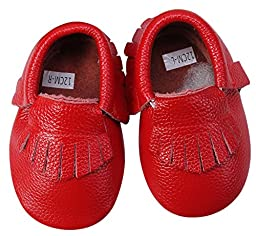 Unique Baby 100% Genuine Leather Baby Moccasins Anti-Slip Shoes M (5.5 inches) Red