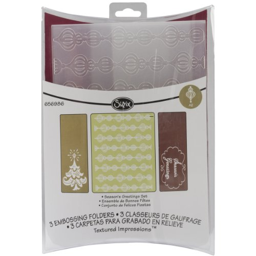Sizzix Textured Impressions Embossing Folders 3Pk - Season'S Greetings Set By Rachael Bright