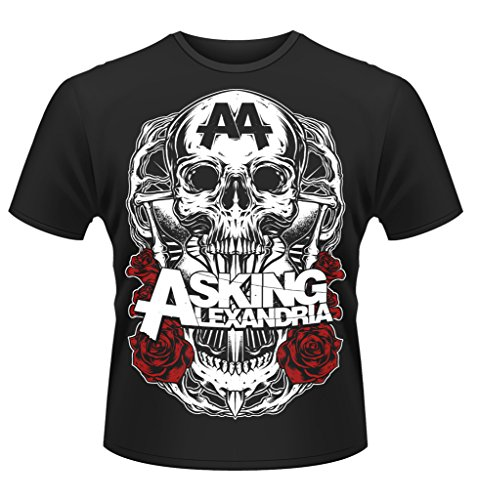 Asking Alexandria Skulls Logo Black Shadow Rock ufficiale Uomo maglietta unisex (Medium)