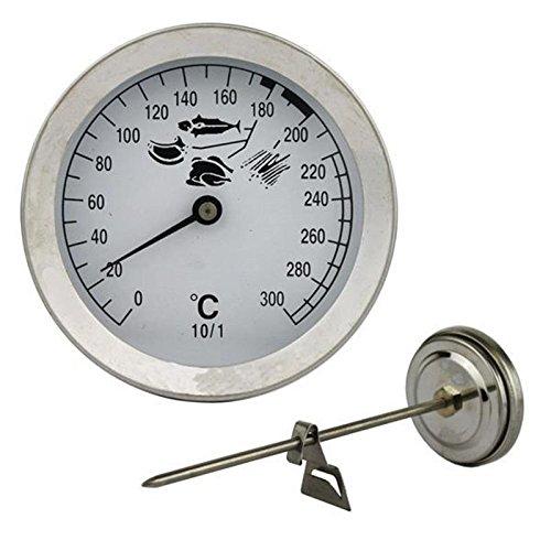 Lantelme 4423 Thermomètre friteuse 300°C en acier inoxydable avec attache clip - analogique et bimétallique