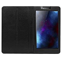 IndiSmack PU Leather Flip Flap Case For Lenovo Tab 2 A7-30 7 inch Tablet Front & Back Flap Cover Stand Holder - Black