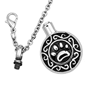 Pet Dog/Cat Paw Black Cremation Urn Necklace Pendant Memorial Ash Keepsake Cremation Jewelry