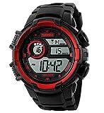 Happy Cherry Outdoor Waterproof Boys Girls Cool Sport LED Digital Alarm Stopwatch Chronograph Wrist Watch Gift Display - Red