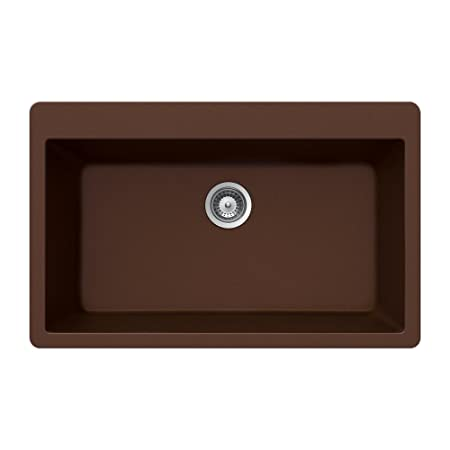 Houzer VIRTUS N-100XL COPPER Virtus Series Topmount Granite Single Bowl Kitchen Sink, Copper