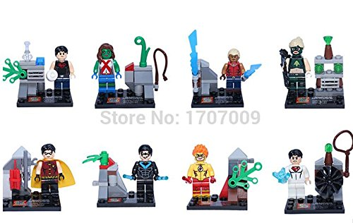 8PCS/LOT BIG MOVIE YOUNG JUSTICE AVENGERS NIGHTWING/ROBIN/MISS MARTIAN MINIFIGURES BUILDING BLOCK SET TOYS Compatible With Lego (WITHOUT Original BOX)