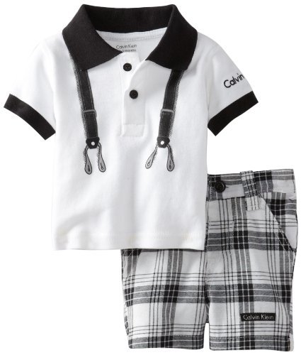 Calvin Klein Baby-boys Newborn Polo With Plaided Short