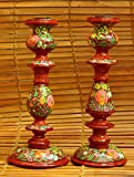 The India Craft House Kashmiri Art Candle Stands - Red & Green Large