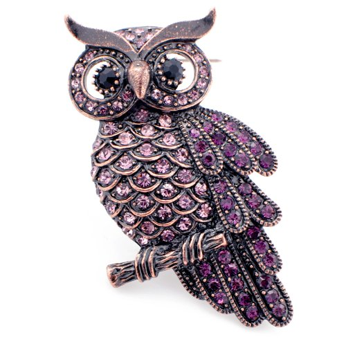 Vintage style Amethyst Purple Owl Bird Pin Brooch