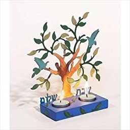 Holy Land Gifts 106574 Candleholder Shabbat Tree Of Life With 2 Tea Lights