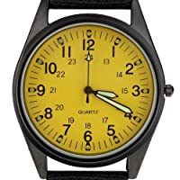 Orkina Black Case Yellow Dial Nylon Fabric Strap Fashion Wrist Watch P104IP-BY