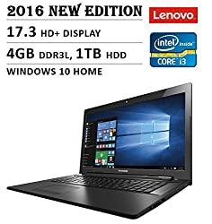 2016 Newest Lenovo Premium High Performance 17.3-inch HD+ Laptop, Intel Core i3-5020U 2.3 GHz, 4GB DDR3L Memory, 1TB HDD, DVD RW, Bluetooth, Webcam, WiFi, HDMI, Windows 10, Black
