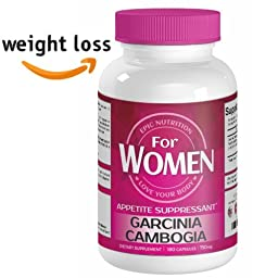Epic Nutrition Garcinia Cambogia Weight Loss Supplement For WOMEN, Appetite Suppressant with HCA, Burn Belly Fat, USA Made, 180 Capsules