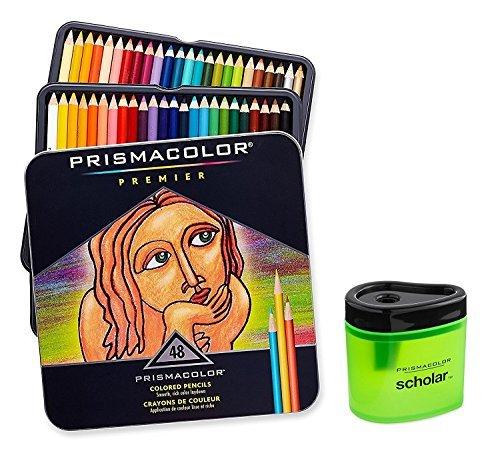 Prismacolor Premier Soft Core Colored Pencil, Set of 48 Assorted Colors (3598T) + Prismacolor Scholar Colored Pencil Sharpener (1774266) (Tamaño: 48 Assorted Colors)