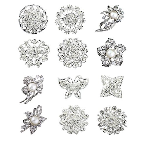 12pcs lot silver plated crystal rhinestone wedding brooches pins (Crystal Brooch compare prices)