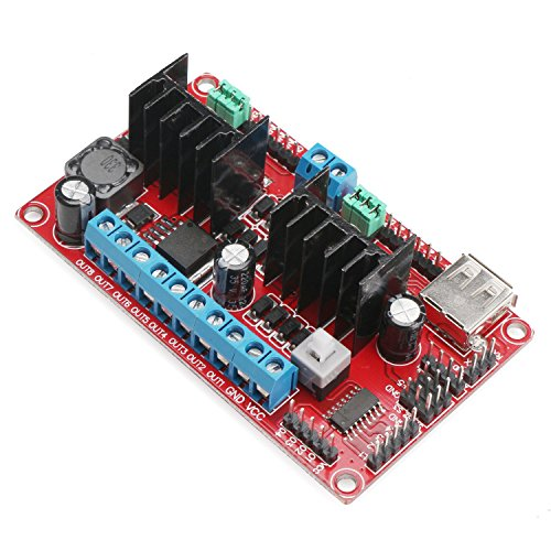 DROK® DC-DC 5-30V L298n V3 Dual H Bridge Stepper Motor Driver Controller Board Chip 2A 4 Channels DC Stepper Motor Driver Module WiFi Motor Control Board Support for Arduino Robot 4WD Smart Car (Robot Dc Motor compare prices)