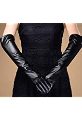 Fairy Season Women Arm Long PU leather Evening Party Warmer Finger Gloves