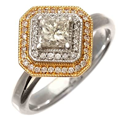 Stunning 18 ct 2 Colour Gold Ladies Solitaire Engagement Diamond Ring Princess Cut 0.80 Carat GH-I2 - 7 Grams