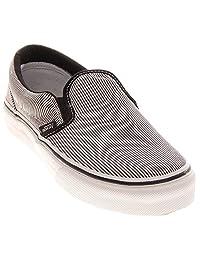 Vans Classic Slip-On Glitter Stripes Black/White Size 3 Kids