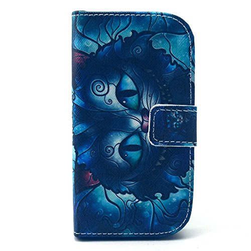 Samsung Galaxy siii mini Case,Galaxy i8190 Case , Camiter Blue Cat Design Premium PU Leather Folio Protective Skin Cover Case for Samsung Galaxy S3 Mini i8190(Build In Stand / Card Slot) (Samsung S3 Mini Case Cat compare prices)