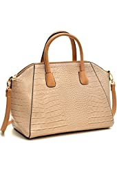 Dasein Croco Leather Weekender Satchel / Saffiano Leather Buckle Strap Handle Briefcase Shoulder Bag Laptop, Tablet, iPad Bag