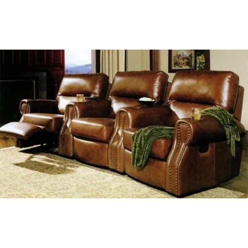 Leather nailhead trim brown motion executive home theater seating sofas Home theater furniture amazon
