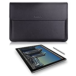 Aogek Microsoft Surface Pro 4 / Pro 3 12-Inch Laptop Sleeve Bag, Premium PU Leather Computer Carrying Wallet Case for Surface Pro 3 / 4, Acer Aspire Switch 11 V 11.6 and more, BLACK
