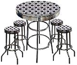 Houston Texans Football Glass Top Chrome Bar Pub Table Set With 4 Swivel Bar Stools