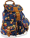 KukuBird Owl Print Twin Pocket Backpack / Rucksack / School Bag