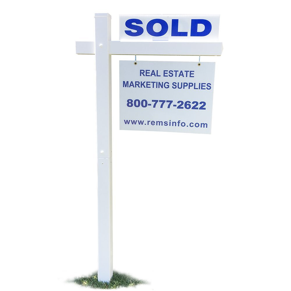 "White Vinyl PVC Real Estate Sign Post - 6 Tall Post w/36"" Arm - Set of 2"