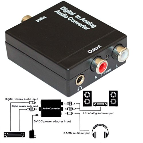 EASYDAY Digital to Analog Audio Converter - Optical SPDIF Toslink Coaxial to RCA L/R Adapter with 3.5mm Jack, 24-bit 192kHz DAC Supports Simultaneous Headphone and Speaker Outputs (Disable Auto R compare prices)