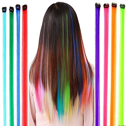 Fantastic High Quality Styling Hairdressers Set Kit With 12pcs Party Fake Synthetic Hair Pieces / Long Clip On Extensions With Iron Pins And In 12 Different Colors By VAGA (Fake Hair Clips compare prices)