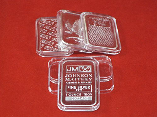 "Premium Air-Tite Brand Direct Fit Silver 1oz ""Bar"" Coin Holder Storage Capsule (Qty 15)"