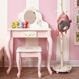 Fantasy Fields - Bouquet Thematic Kids Classic Vanity Table and Stool Set with Mirror | Imagination Inspiring Hand Crafted & Hand Painted Details | Non-Toxic, Lead Free Water-based Paint