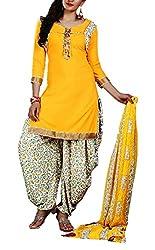Mashuka Simran Women's Synthetic Unstitched Dress Material(D-No-5581_Yellow_Free size)