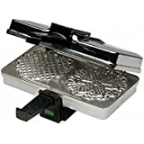 """CucinaPro  Polished Pizzelle Maker 220-05P - Makes Two 5"""" Cookies at Once"""