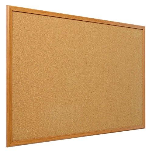 Quartet bulletin board cork board 2 39 x 3 39 oak wood for Office display board