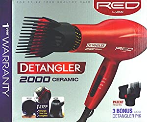 Kiss Products Red Detangler Dryer Plus 3 Attachmnents, 1.75 Pound