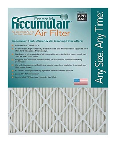 Accumulair Emerald 15x25x1 (14.5x24.5) MERV 6 Air Filter/Furnace Filters (4 pack) (Air Filter 15x25x1 compare prices)