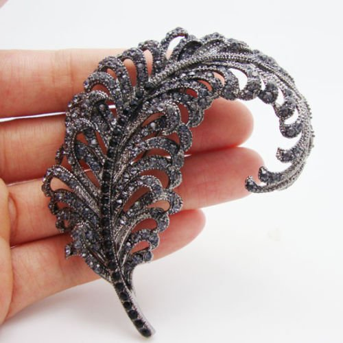 "TTjewelry 3.18"" Vintage Peacock Feather Rhinestone Crystal Brooch Pin Party Jewelry 1"