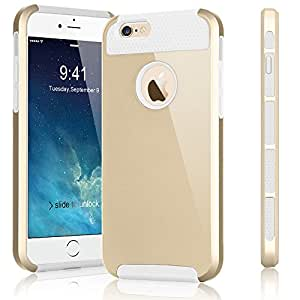 iPhone 6S Plus Case, Tekcoo(TM) iPhone 6S Plus / 6 Plus (5.5 INCH) [Shock Absorbing] [Scratch Proof] Impact Defender Slim Hard Case Cover Plastic Shell Outer +TPU Rubber Silicone Inner [Gold/White]