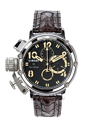 U-Boat Chimera 48mm 925 Men's Automatic Watch with Black Dial Chronograph Display and Black Strap 7108.0