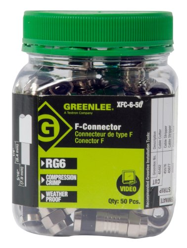 Greenlee XFC-6-50 Weatherproof Compression F-Style Connectors, RG6, 50-Pack