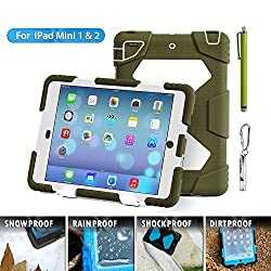 iPad mini case, Aceguarder TECH [child family] full protection shockproof popular brands dust ipad mini case for compatibility iPad mini 1/2. (olive white)