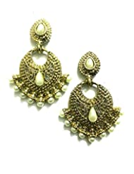 Ethnic Fashion Earrings With Pearl And Coloured Crystals In Golden Finish, Pearl
