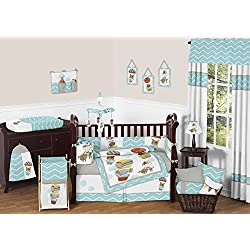 Sweet Jojo Designs Balloon Buddies Elephant, Dog, Bear, Hippo Animal Jungle 9 pc Chevron Crib Baby Girl or Boy Unisex Bedding Set