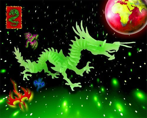 Puzzled Glow in The Dark Dragon 3D Jigsaw Puzzle (113 Piece)