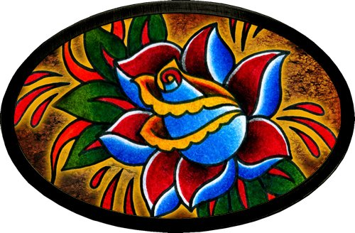 Ed Hardy Style Tattoo Johnny Bloody Rose Belt Buckle