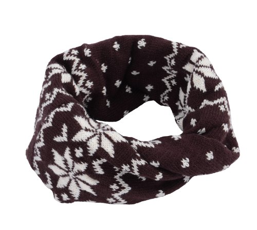 Simplicity Fashion Infinity Scarf/ Neck Warmer With X-Mas Patterns, Coffee front-1031684