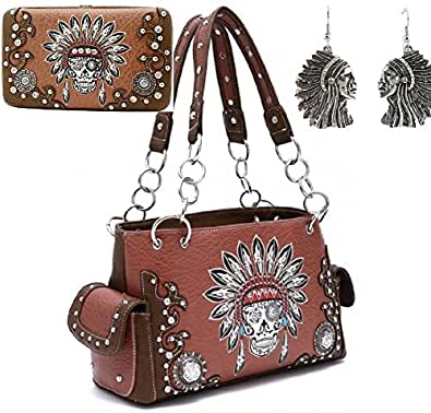 Concealed Carry Indian Costume Western Sugar Skull Shoulder Bag Handbag Purse With Matching Wallet & Earring