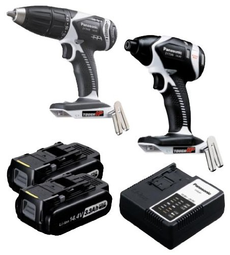 Panasonic EYC108LR Cordless, Battery Powered, Rechargeable 14.4V Hammer Drill / Impact Driver Combo Kit